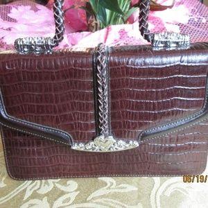 Handbags - BROWN LEATHER PURSE, BRAIDED HANDLE, SILVERTONE AC